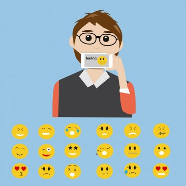 Hipster man say the feeling  with smart phone  the technology addiction and emotion icons