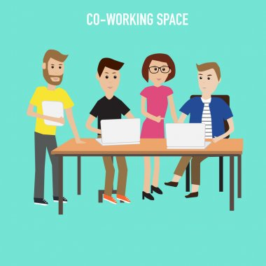 People working in the co-working space infographics elements.ill