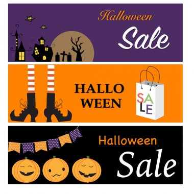 Happy Halloween  sale banners with night city , witch legs, pump