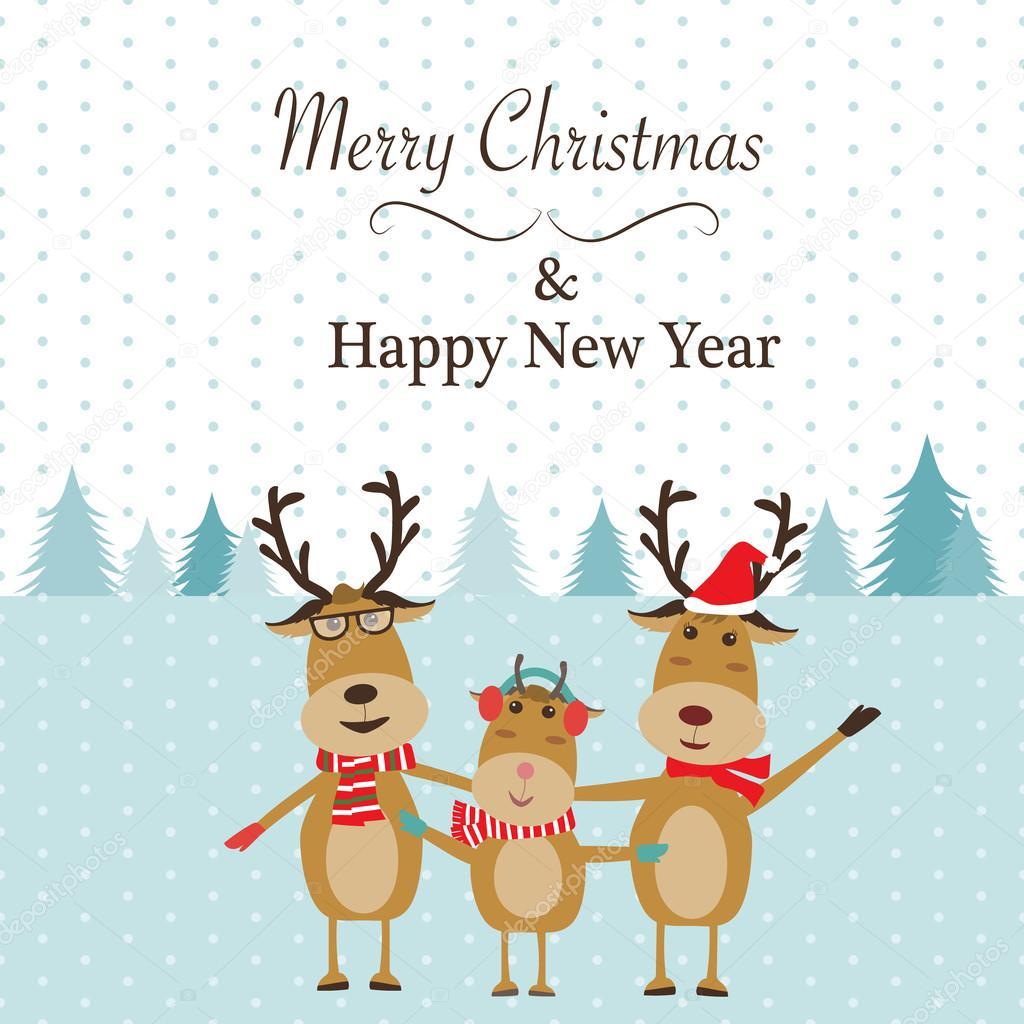 Frohe Weihnachten Familie.Rentier Familie Frohe Weihnachten Banner Vektor Abbildung Eps1