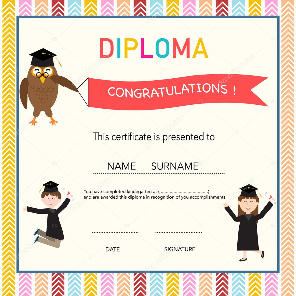 Certificate of kids diploma preschoolkindergarten template bac certificate of kids diploma preschoolkindergarten template bac stock vector yelopaper Image collections