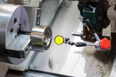 industrial metal work machining process by cutting tool on CNC l