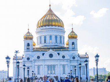 View of the Cathedral of Christ the Savior and the Patriarchal bridge, Moscow, Russia