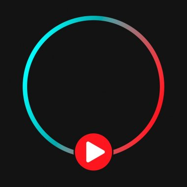 Template blank avatar with play button. Social media icon avatar frame. Live stories user video streaming. Isolated on black background icon
