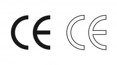 CE mark. CE symbol isolated on white background. European Conformity certification mark. icon