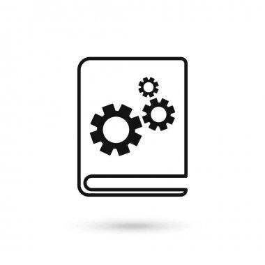 Book icon with settings sign. Book icon and customize, setup, manage, process concept. Vector graphics. icon