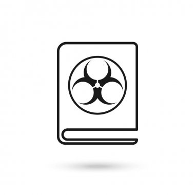 Book with biohazard sign, flat design style icon