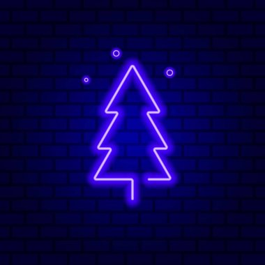 Fir tree neon sign. Christmas party advertisement design. Vector illustration in neon style. Vector illustration isolated on brick wall background. icon
