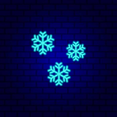 Snowflake neon sign. Luminous signboard with winter decoration icon isolated on brick wall background. Vector Illustration icon