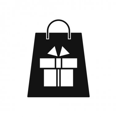 Shopping black bag with gift box icon