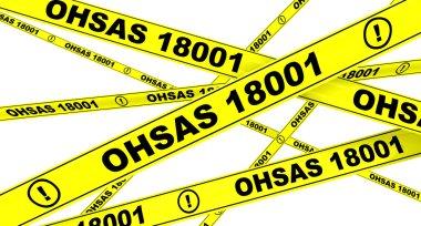 OHSAS 18001:2007. Yellow warning tapes