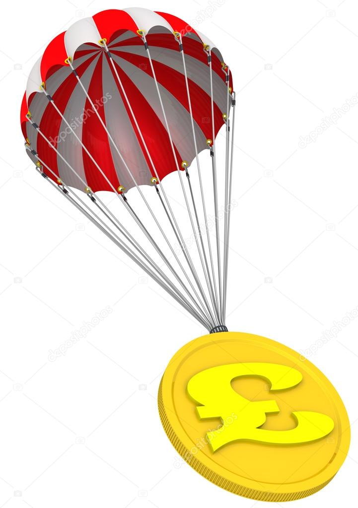 Coin With The Symbol Of The British Pound Sterling Is Flying On A