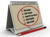 Fotografie Liste der Iso-Normen mit der Checkliste in der desktop-organizer