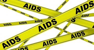 AIDS. Yellow warning tapes with black words AIDS (acquired immune deficiency syndrome). Isolated. 3D illustration