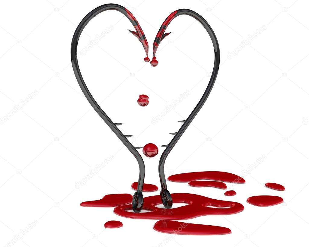 Bleeding Heart Symbol From Fish Hooks Stock Photo Waldemarus