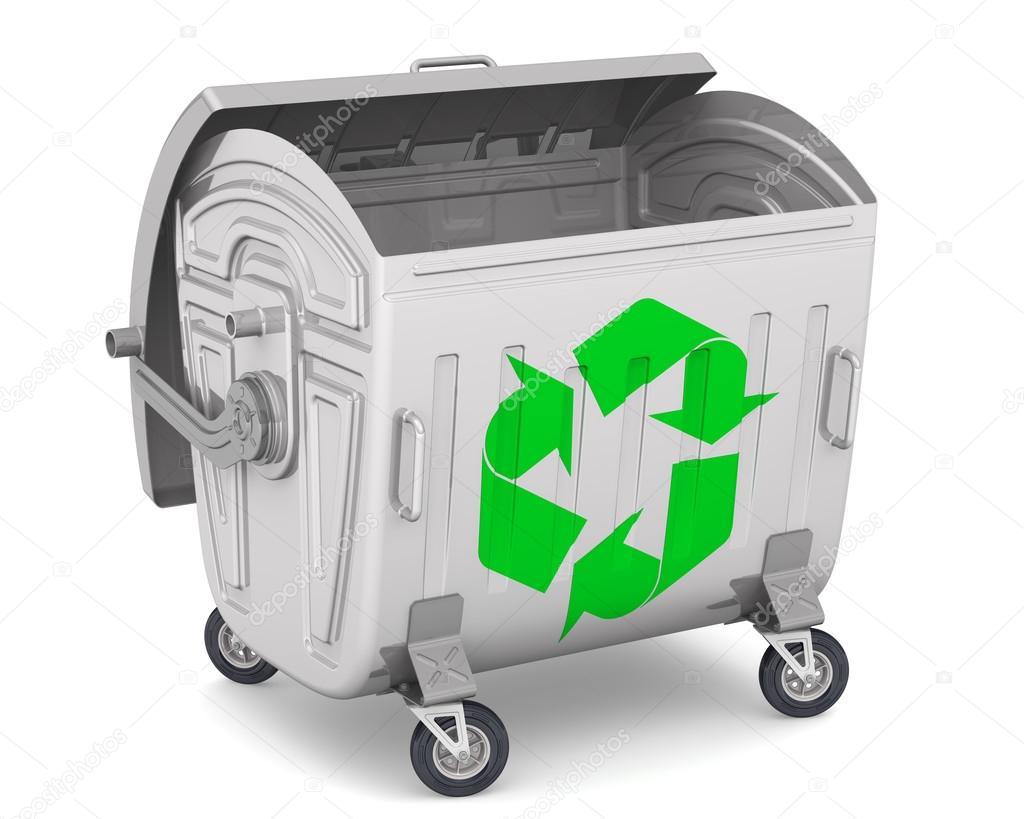 conteneur poubelle ouverte avec le symbole international du recyclage photographie waldemarus. Black Bedroom Furniture Sets. Home Design Ideas