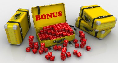 Suitcases with bonuses. Financial concept