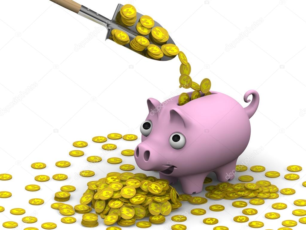 The concept of financial well being coins with the symbol of the shovel fills a pink pig piggy bank with gold coins with the symbols of the british pound sterling the three dimensional illustration biocorpaavc Gallery