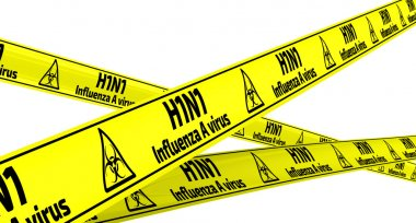 Influenza A virus subtype H1N1. Yellow warning tapes