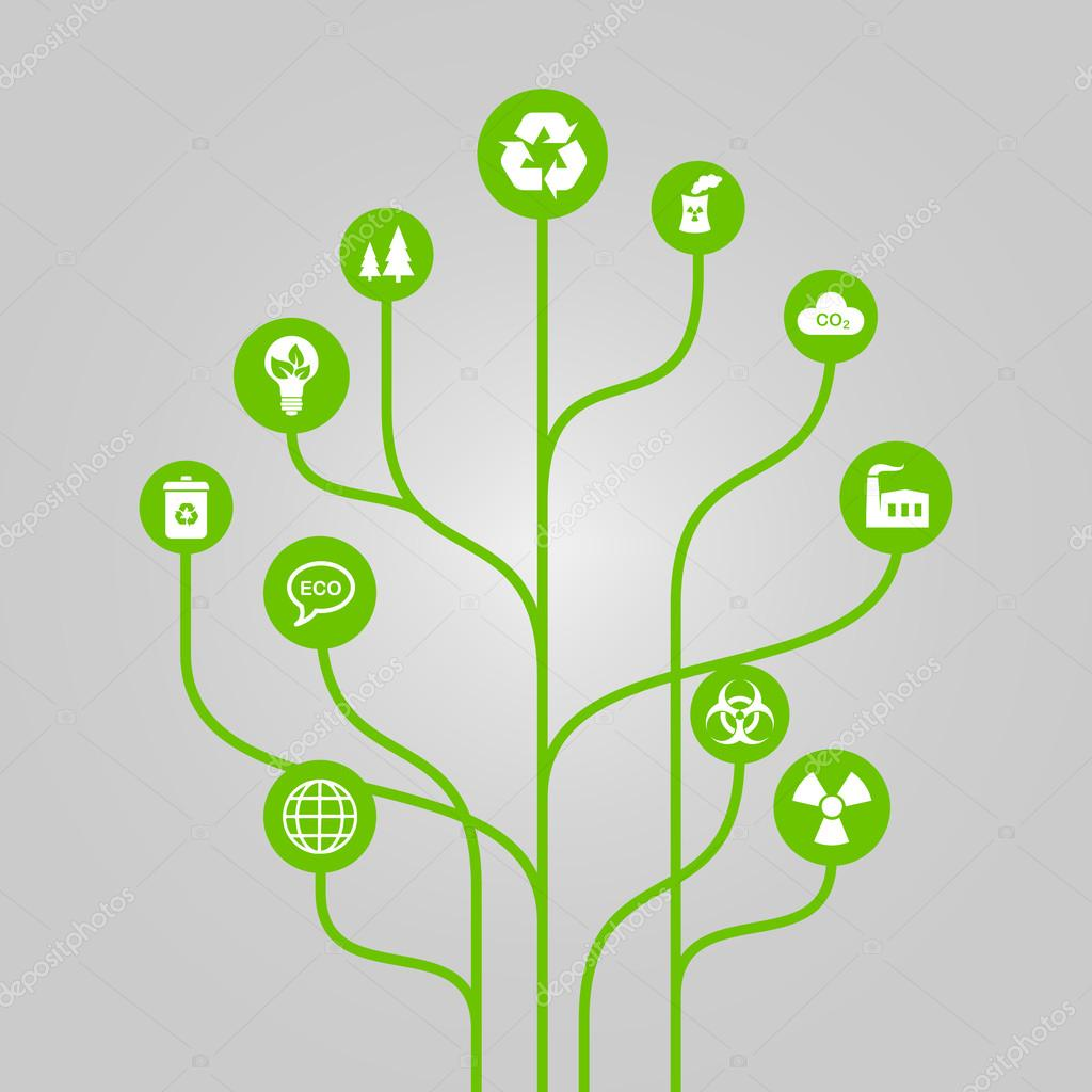 Abstract icon tree illustration - environment, ecology and nature protection concept