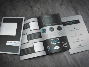 Business bifold brochure template - modern, dark grey and blue design with editable line chart, round percentage charts and universal icons concerning technology.