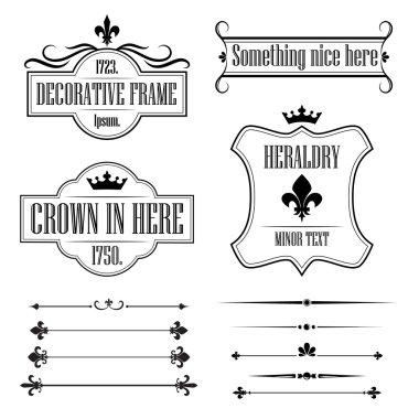 Set of calligraphic flourish design elements, deviders, frames and borders - decorative vintage style - fleur de lis clip art vector
