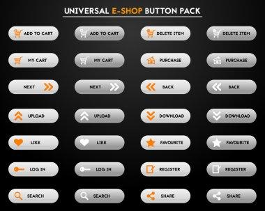 Set of simple grey e-shop buttons