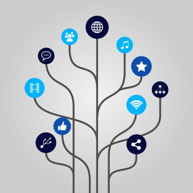 Abstract icon tree illustration - internet, media, communication and technology concept