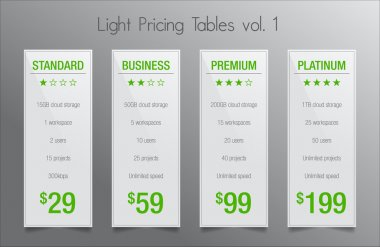 Light pricing tables - set of four price banner templates suitable for web and e-shops