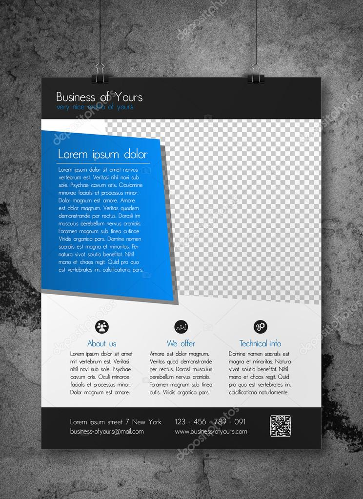 creative business flyer template clean and simple modern design of blue and dark grey fully editable eps10 with photo placeholder