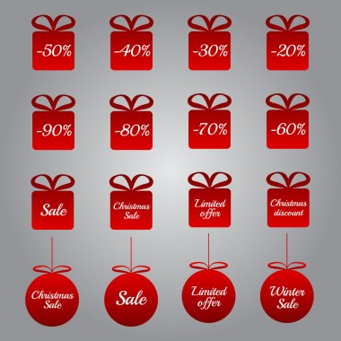 Christmas pricing tags - red gift and bauble shapes