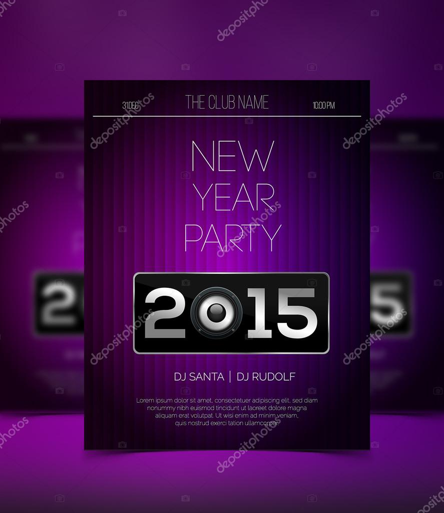 new year party flyer template modern purple and silver design stock vector
