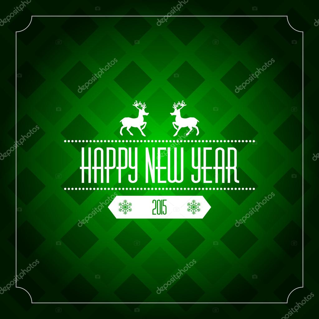 Happy New Year 2015 Greeting Card Template Green Pattern Stock