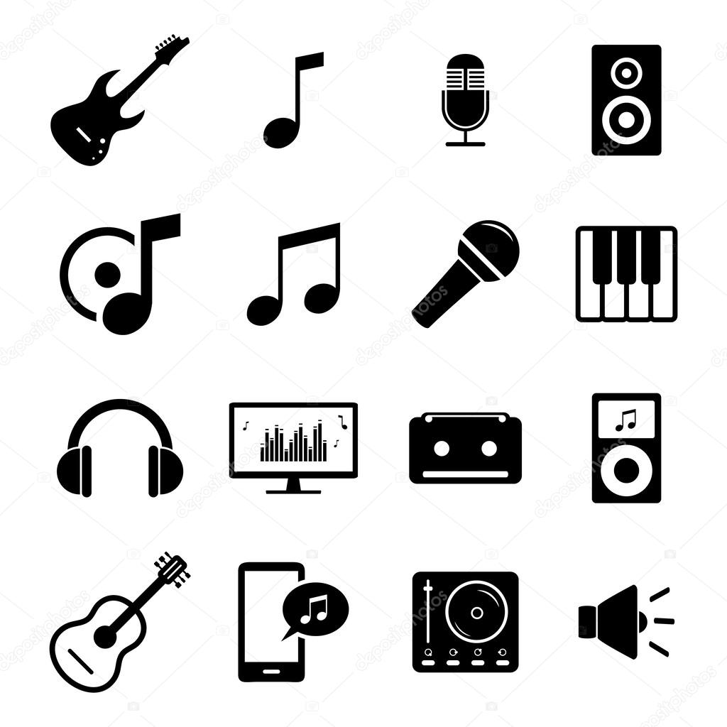 Collection Of Flat Media Icons Audio Musical Instruments And