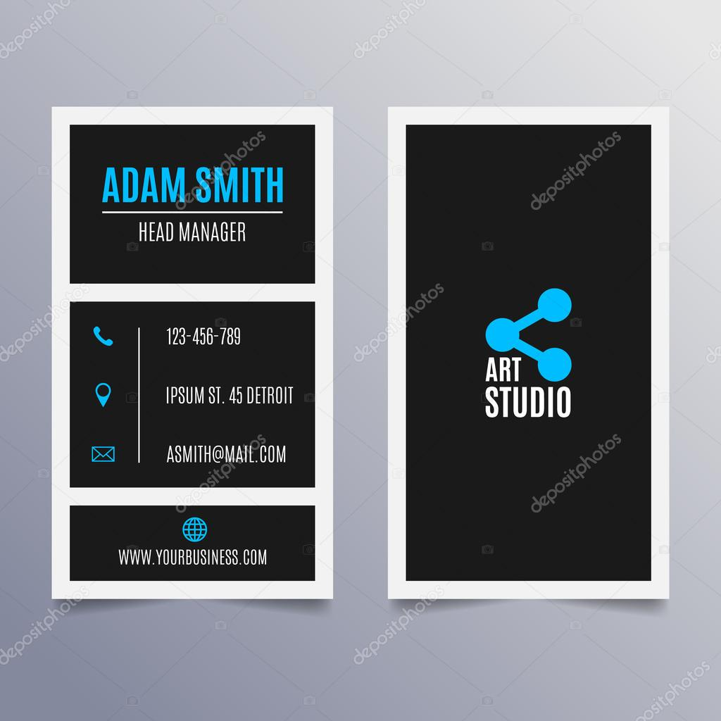 Business card template - vertical black and blue modern clean design ...
