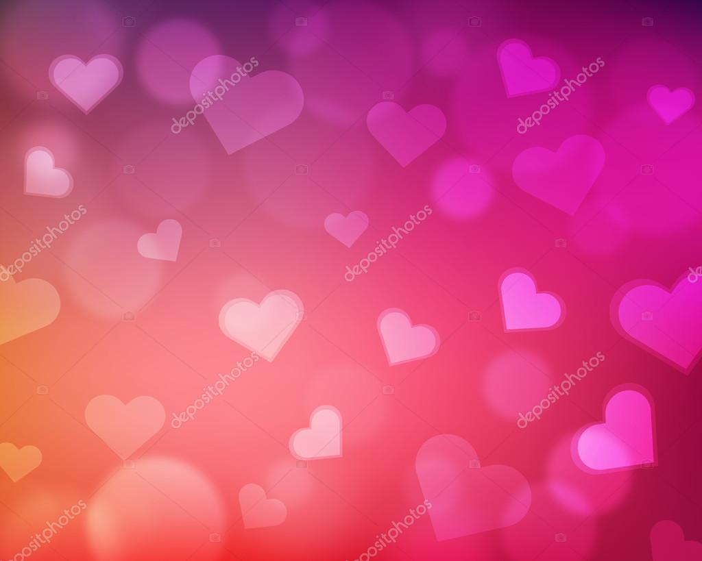 Blur background with love theme - hearts and light orbs