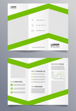 Business trifold brochure template - green and white sleek modern design