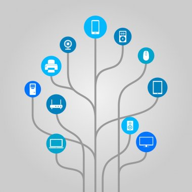 Abstract icon tree illustration - computer hardware, technology and electronic devices