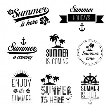 Set of summer holidays typography labels, signs and design elements - summer is here