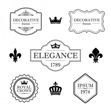Set of calligraphic flourish design elements - fleur de lis, crowns, frames and borders - decorative vintage style