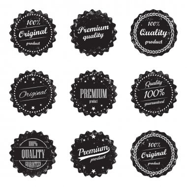 Collection of vintage product labels and signs - premium quality and top product