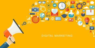 Digital marketiing flat illustartion. Hand with speaker and icon