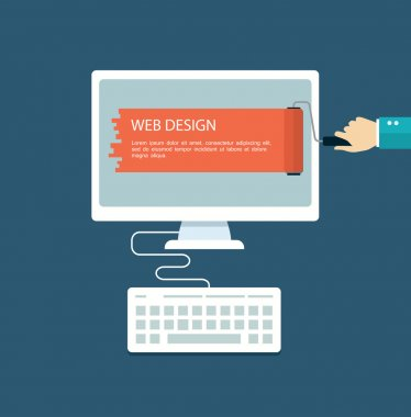 Web design flat illustration.Hand with roller painting computer.