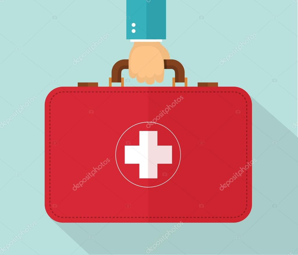 Hand holding healthcare briefcase