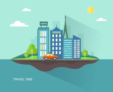 Flat travel illustration with urban landscape