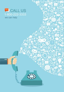 Flat illustration of hand holding phone with icons. Contact us. Eps8 clip art vector