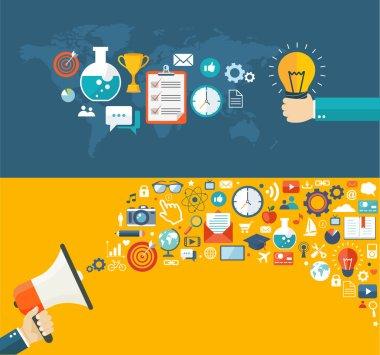 Flat banners set. Creative idea and digital marketing illustrati