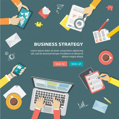 Flat banner of bussiness strategy. Desktop with objects and hand