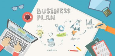 Flat banner of bussiness plan in doodle style. Idea, anaytics, r