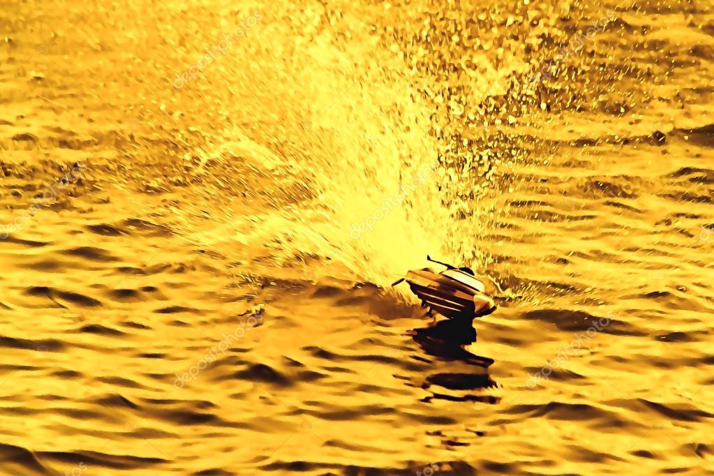 Hız Boyama Kroki Inci Ile çalışan Küçük Oyuncak Tekne Stok Foto